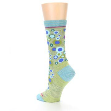 Image of Lime Blue Bubbles Wool Women's Socks (side-2-back-14)