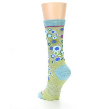 Image of Lime Blue Bubbles Wool Women's Socks (side-2-back-15)