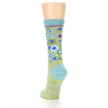 Image of Lime Blue Bubbles Wool Women's Socks (side-2-back-16)