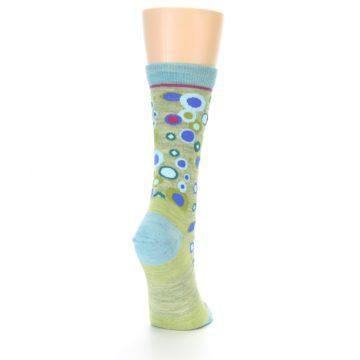 Image of Lime Blue Bubbles Wool Women's Socks (side-1-back-20)