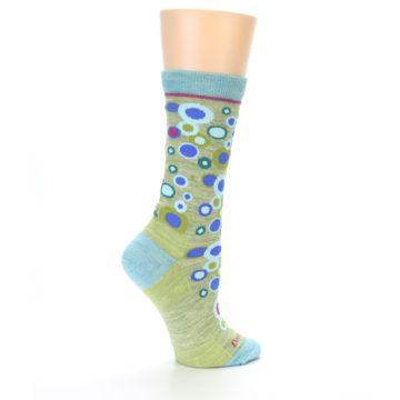 Image of Lime Blue Bubbles Wool Women's Socks (side-1-23)