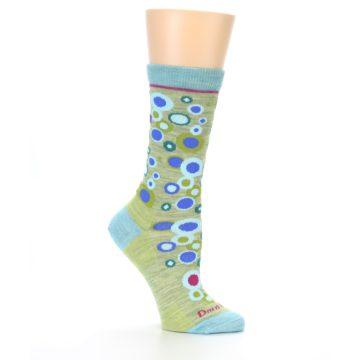 Image of Lime Blue Bubbles Wool Women's Socks (side-1-26)
