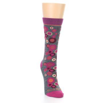 Image of Grey Fuchsia Bubbles Wool Women's Socks (side-1-front-03)