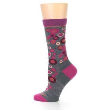 Image of Grey Fuchsia Bubbles Wool Women's Socks (side-2-12)