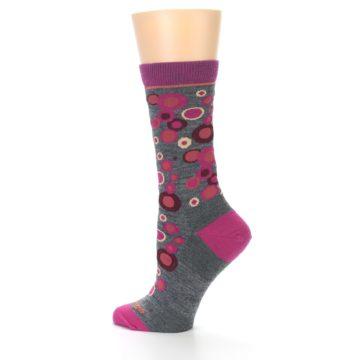 Image of Grey Fuchsia Bubbles Wool Women's Socks (side-2-13)