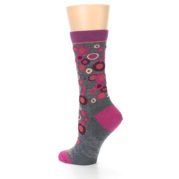 Image of Grey Fuchsia Bubbles Wool Women's Socks (side-2-back-14)