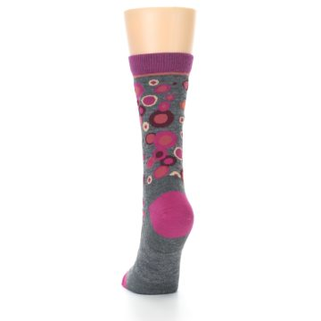 Image of Grey Fuchsia Bubbles Wool Women's Socks (back-17)