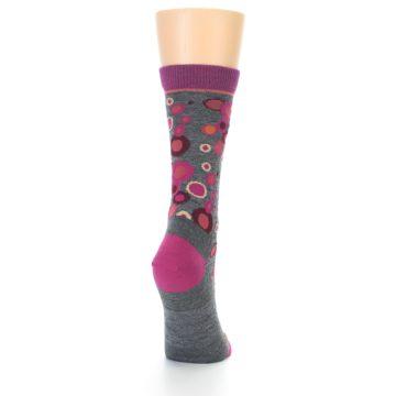 Image of Grey Fuchsia Bubbles Wool Women's Socks (side-1-back-20)