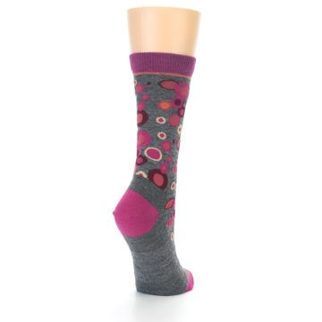 Image of Grey Fuchsia Bubbles Wool Women's Socks (side-1-back-21)