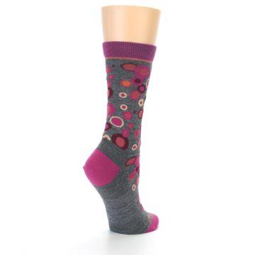 Image of Grey Fuchsia Bubbles Wool Women's Socks (side-1-back-22)