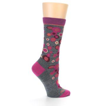 Image of Grey Fuchsia Bubbles Wool Women's Socks (side-1-24)