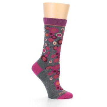 Image of Grey Fuchsia Bubbles Wool Women's Socks (side-1-25)