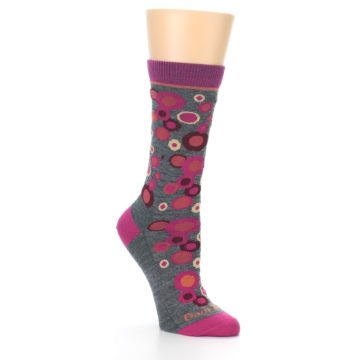 Image of Grey Fuchsia Bubbles Wool Women's Socks (side-1-27)