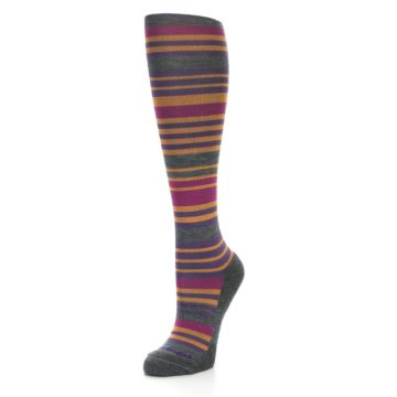 Image of Orange Purple Stripe Wool Women's Knee High Socks (side-2-front-08)