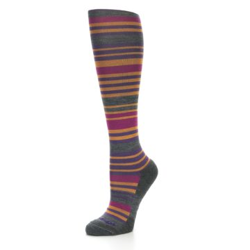 Image of Orange Purple Stripe Wool Women's Knee High Socks (side-2-09)