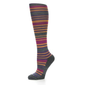 Image of Orange Purple Stripe Wool Women's Knee High Socks (side-2-10)