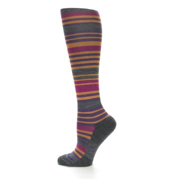 Image of Orange Purple Stripe Wool Women's Knee High Socks (side-2-12)