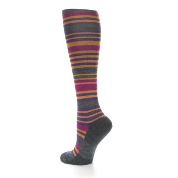 Image of Orange Purple Stripe Wool Women's Knee High Socks (side-2-back-14)