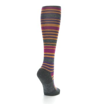 Image of Orange Purple Stripe Wool Women's Knee High Socks (side-1-back-21)