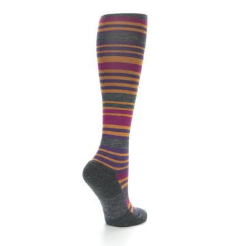 Image of Orange Purple Stripe Wool Women's Knee High Socks (side-1-back-22)