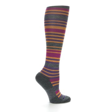 Image of Orange Purple Stripe Wool Women's Knee High Socks (side-1-24)