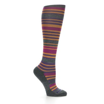 Image of Orange Purple Stripe Wool Women's Knee High Socks (side-1-25)