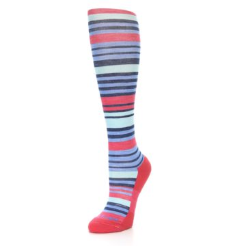 Image of Coral Blue Stripe Wool Women's Knee High Socks (side-2-front-08)