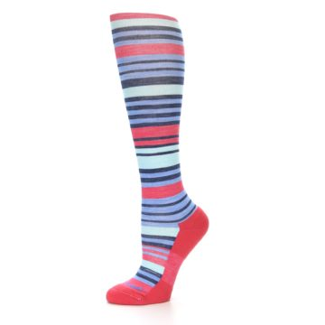 Image of Coral Blue Stripe Wool Women's Knee High Socks (side-2-10)