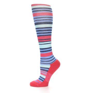 Image of Coral Blue Stripe Wool Women's Knee High Socks (side-2-11)