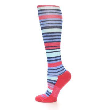 Image of Coral Blue Stripe Wool Women's Knee High Socks (side-2-12)