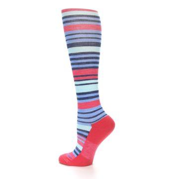Image of Coral Blue Stripe Wool Women's Knee High Socks (side-2-13)