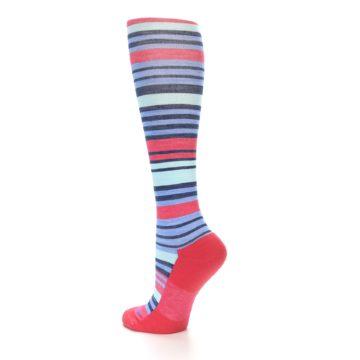 Image of Coral Blue Stripe Wool Women's Knee High Socks (side-2-back-14)