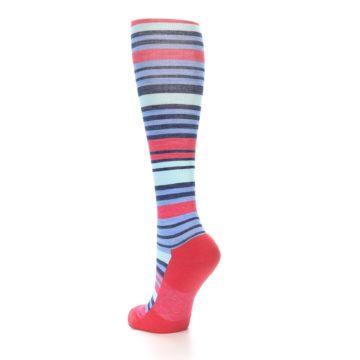 Image of Coral Blue Stripe Wool Women's Knee High Socks (side-2-back-15)
