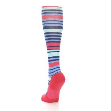 Image of Coral Blue Stripe Wool Women's Knee High Socks (side-2-back-16)