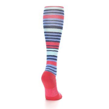 Image of Coral Blue Stripe Wool Women's Knee High Socks (side-1-back-20)
