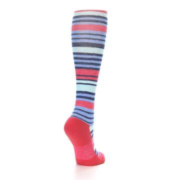 Image of Coral Blue Stripe Wool Women's Knee High Socks (side-1-back-21)
