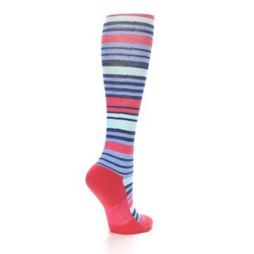 Image of Coral Blue Stripe Wool Women's Knee High Socks (side-1-back-22)