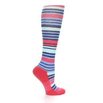 Image of Coral Blue Stripe Wool Women's Knee High Socks (side-1-24)