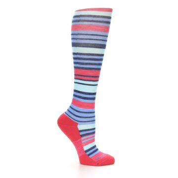 Image of Coral Blue Stripe Wool Women's Knee High Socks (side-1-25)