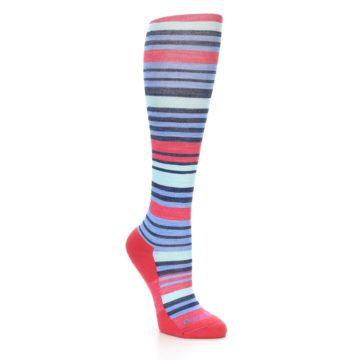 Image of Coral Blue Stripe Wool Women's Knee High Socks (side-1-27)
