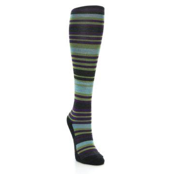 Image of Lime Aqua Stripe Wool Women's Knee High Socks (side-1-front-02)