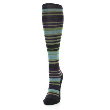 Image of Lime Aqua Stripe Wool Women's Knee High Socks (side-2-front-06)