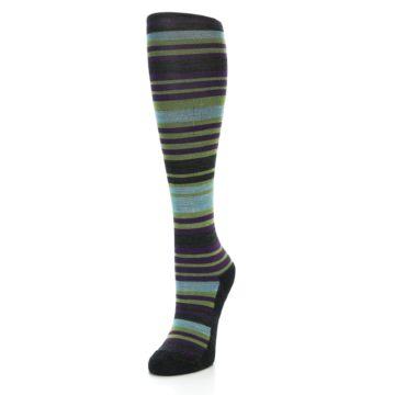 Image of Lime Aqua Stripe Wool Women's Knee High Socks (side-2-front-07)