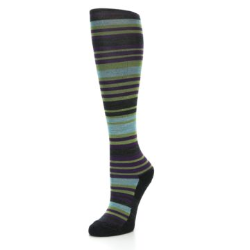 Image of Lime Aqua Stripe Wool Women's Knee High Socks (side-2-front-08)