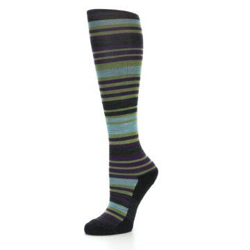 Image of Lime Aqua Stripe Wool Women's Knee High Socks (side-2-09)