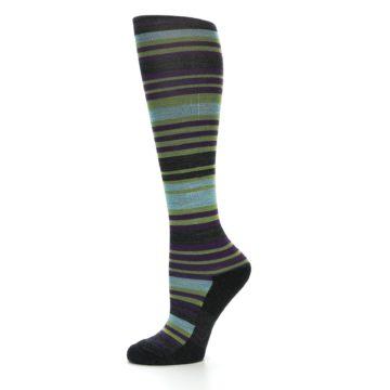 Image of Lime Aqua Stripe Wool Women's Knee High Socks (side-2-10)