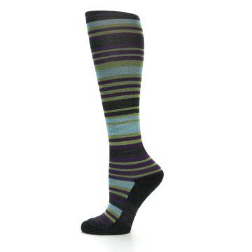 Image of Lime Aqua Stripe Wool Women's Knee High Socks (side-2-11)