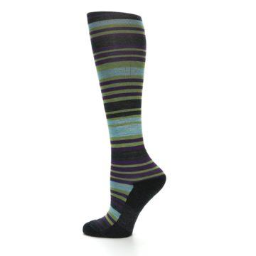 Image of Lime Aqua Stripe Wool Women's Knee High Socks (side-2-12)