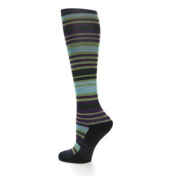 Image of Lime Aqua Stripe Wool Women's Knee High Socks (side-2-13)