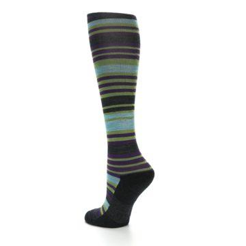 Image of Lime Aqua Stripe Wool Women's Knee High Socks (side-2-back-14)